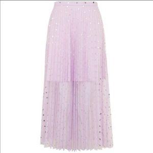Topshop NWT lilac foil dot pleated midi skirt